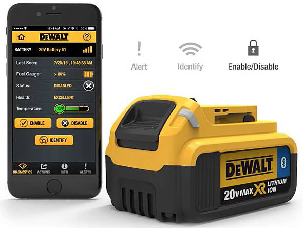 DeWalt Tool Connect battery and app