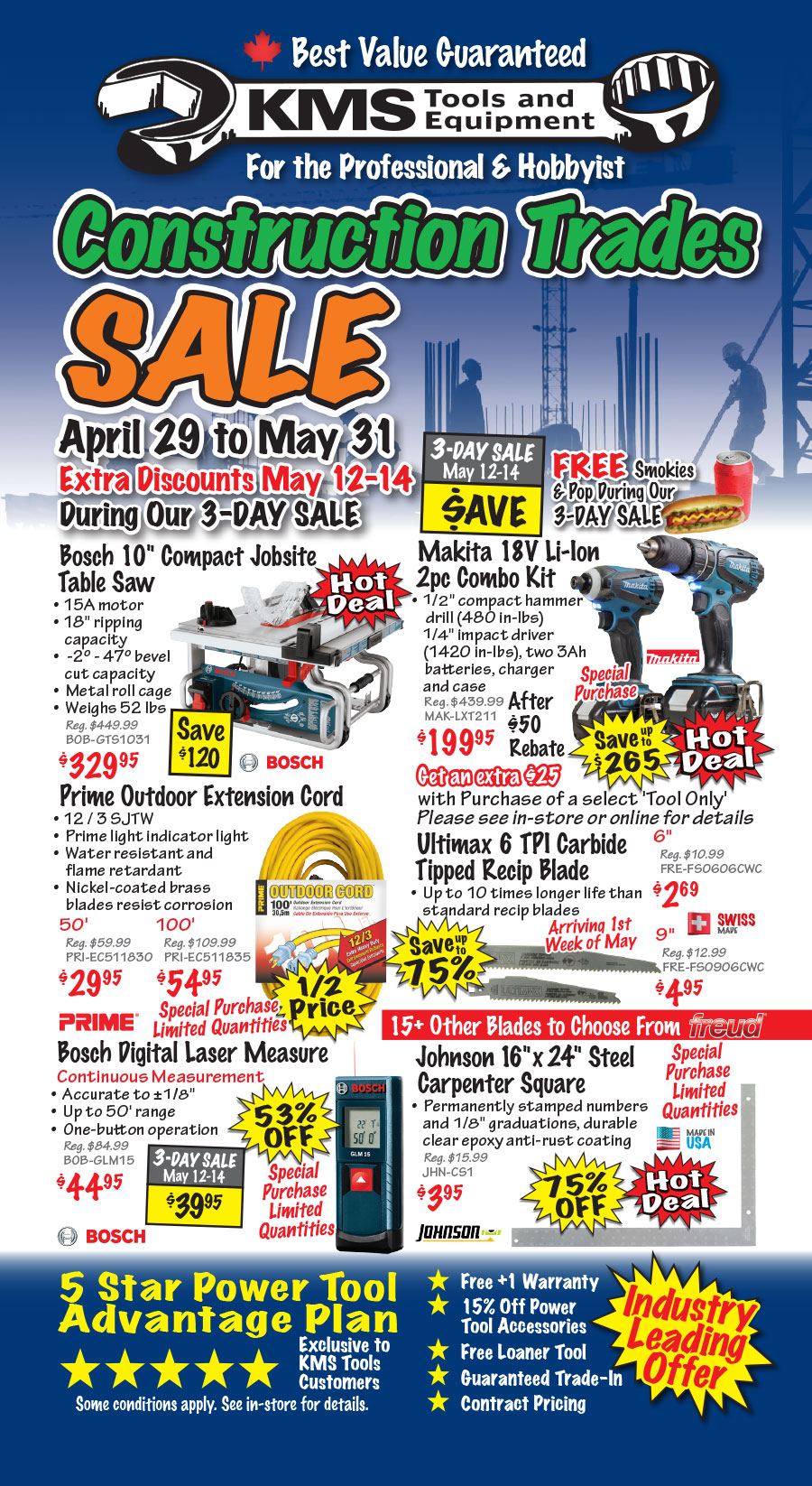 May Construction Trades Sale