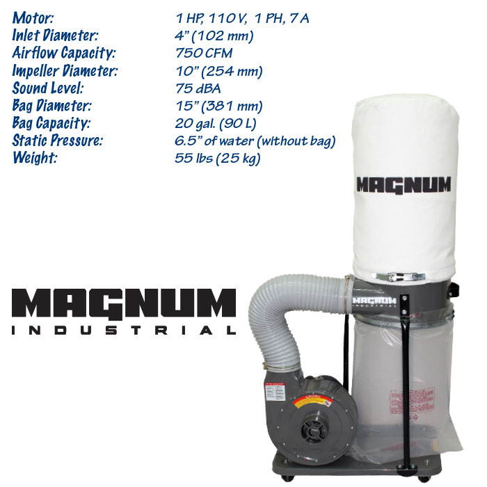 1 HP Magnum Industrial dust collector