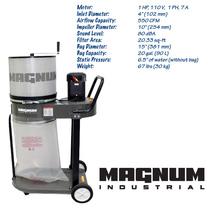 Magnum Industrial 1HP Dust Collector