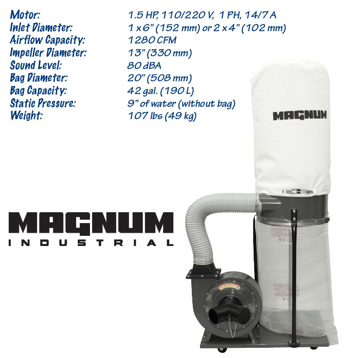 1.5 HP Magnum Industrial dust collector