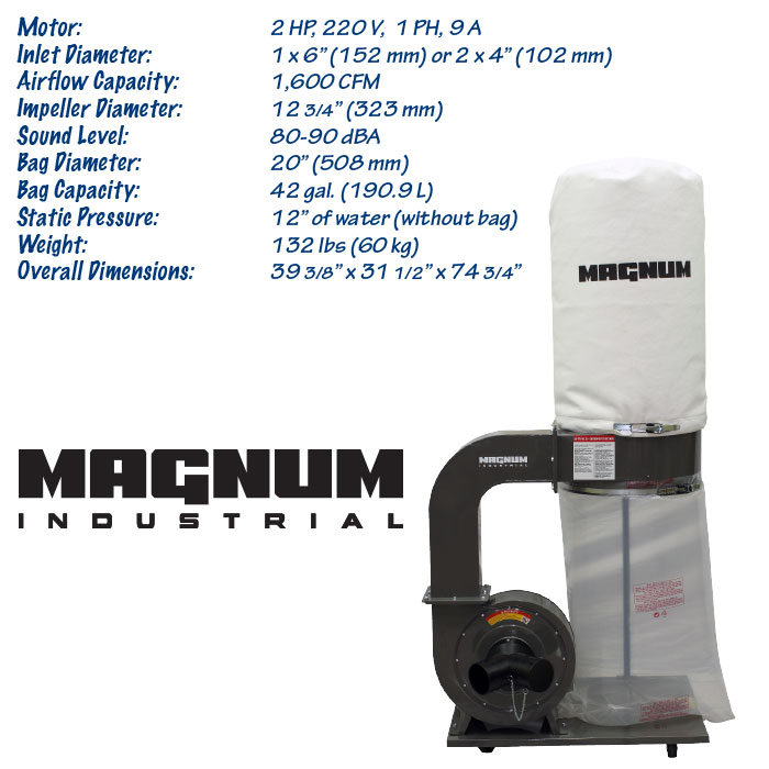 2 HP Magnum Industrial dust collector