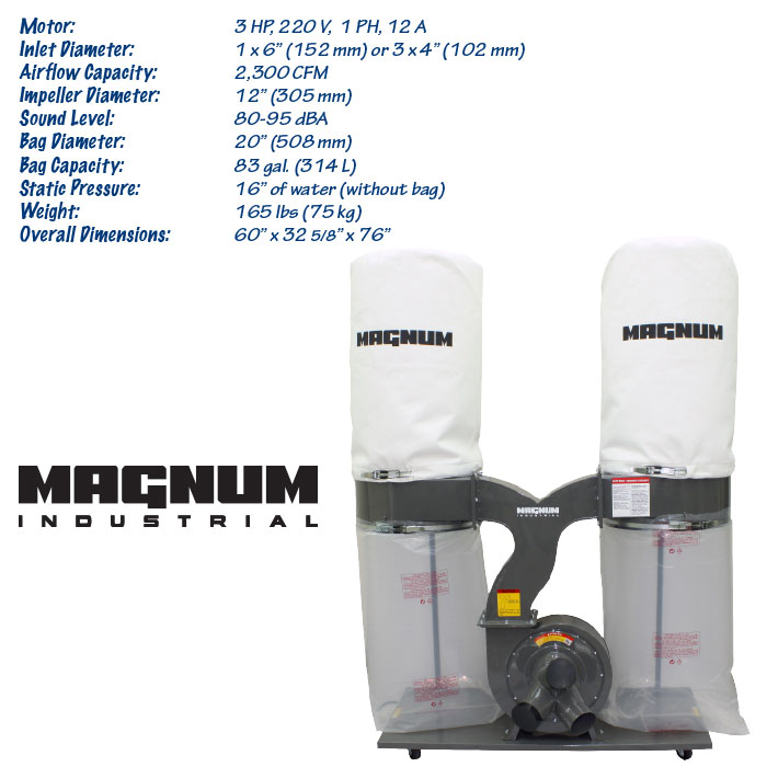 3 HP Magnum Industrial dust collector