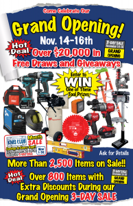 KMS Tools Abbotsford Grand Opening November 14 to 16, 2019